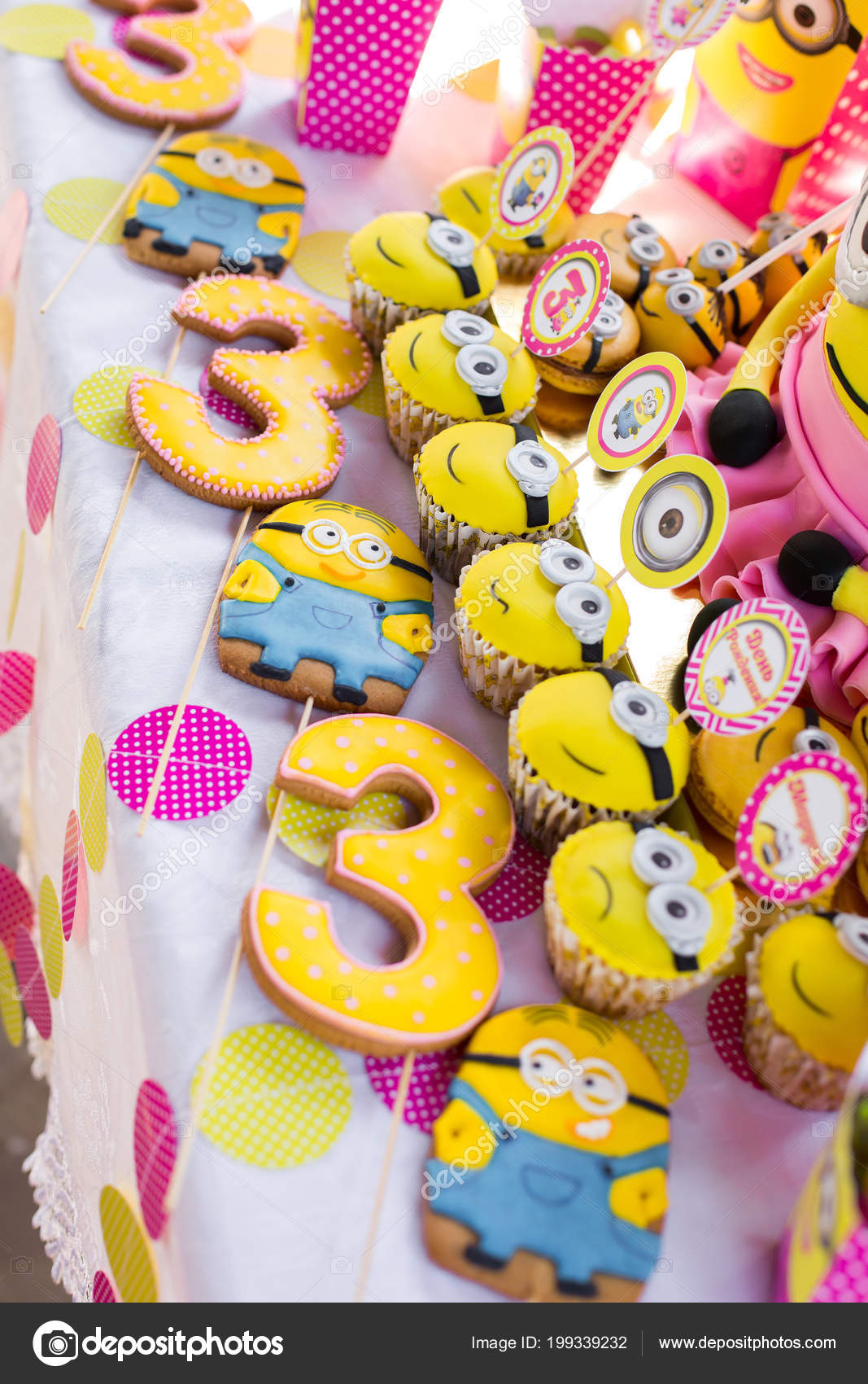 Minions Theme Sweet Birthday Candy Bar Decoration Stock Photo