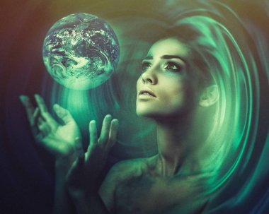 Blue Earth in hands, Birth of new universe, fantastic female portrait.