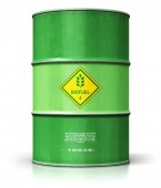 Photo Creative abstract ecology, alternative sustainable energy and environment protection saving business concept: 3D render illustration of green metal biofuel drum or biodiesel barrel isolated on white background with reflection effect