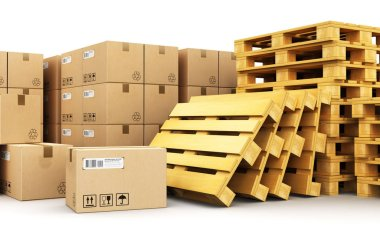 Creative abstract cargo, delivery and transportation logistics storage warehouse industry business concept: 3D render illustration of the group of stacked corrugated cardboard boxes on wooden shipping pallets isolated on white background