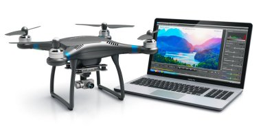 Creative abstract 3D render illustration of the black professional quadcopter drone and laptop of notebook computer PC with video and footage editing software on screen display isolated on white background
