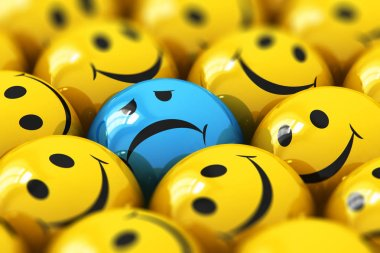 Creative abstract 3D render illustration of the macro view of single dull and sad blue smiley among happy yellow ones with selective focus effect
