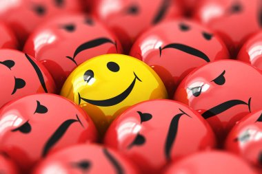 Creative abstract 3D render illustration of the macro view of single happy yellow smiley among red angry ones with selective focus effect