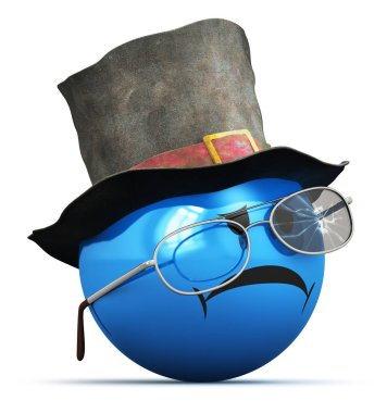 Creative abstract 3D render illustration of the bad sad disappointed blue smiley emoji, emoticon or icon with old crumpled top hat and broken eyeglasses, glasses or sunglasses isolated on white background