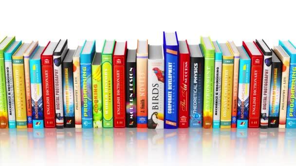 Creative abstraktní věda, znalosti, vzdělání, zpět do školy, obchodní a podnikové splácení: 3d vykreslení bezešvé opakování 4k videozáznamu z vázaných knih barev izolovaných na bílém pozadí