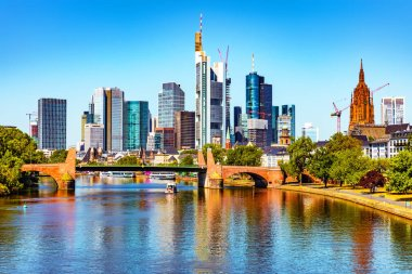 Scenic summer view of the business corporate downtown bank district with high tall skyscraper buildings and bridge over the Main River in Frankfurt am Main, Germany