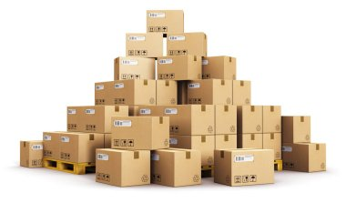 Piles of cardboard boxes on shipping pallets
