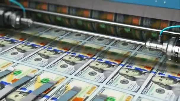 Siker üzleti, pénzügyi, banki, számviteli, és így pénzt koncepció: 3d render videó a nyomtatási 100 Us dollár Usd pénz papír készpénz bankjegyek a tipográfia nyomtatott gép