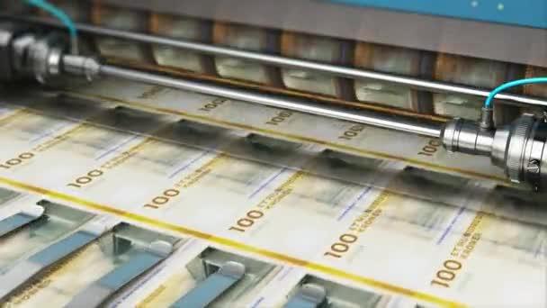 Úspěch v podnikání, finance, bankovnictví, účetnictví a dělá si peníze koncept: 3d vykreslení obrázku tisk 100 Dk dánská koruna peníze papírové hotovosti bankovek na tiskovém stroji v typografii