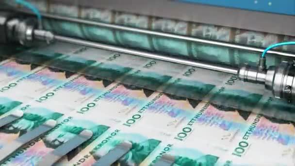 Úspěch v podnikání, finance, bankovnictví, účetnictví a dělá si peníze koncept: 3d vykreslení video tisk 100 Sek bankovek švédské koruny peníze papírové peníze na tiskovém stroji v typografii