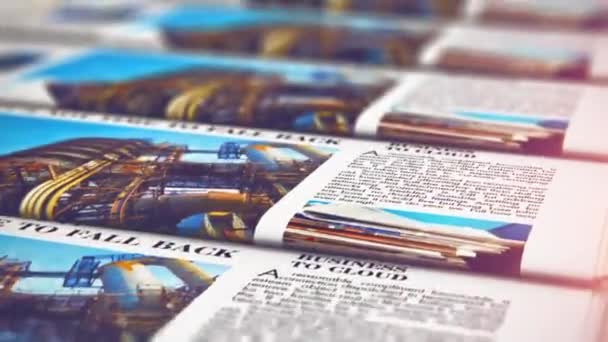 3D render video of the macro view of printing color daily business newspapers or news papers on the offset print machine in typography with selective focus bokeh blur effect