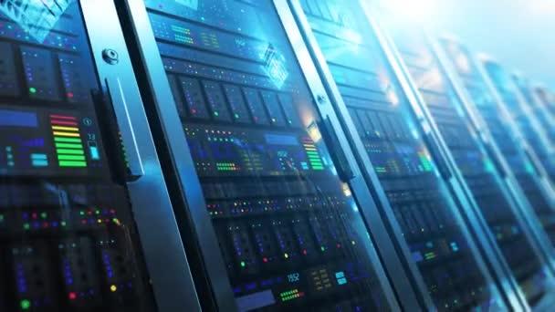 moderne Web-Netzwerk- und Internet-Telekommunikationstechnologie, Big-Data-Speicherung und Cloud-Computing-Computerdienstleistungskonzept: 3D-Rendervideo der Makroansicht des Serverraums im Rechenzentrum mit selektivem Fokuseffekt