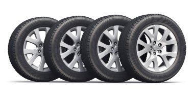 Creative abstract auto industry, service and maintenance repair business technology automotive concept: 3D render illustration of the set of car wheels with tyres or tires isolated on white background