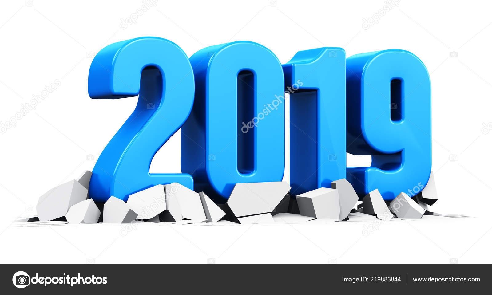 Render Illustration Blue Creative Abstract New Year 2019 Holiday ...