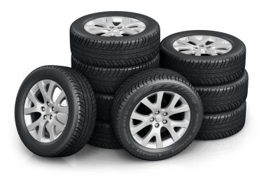 Creative abstract auto industry, service and maintenance repair business technology automotive concept: 3D render illustration of the set of car wheels with tyres or tires isolated on white background with reflection effect