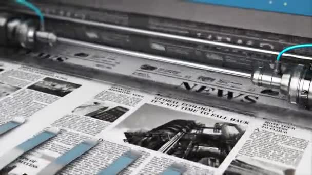 3D render video of printing black and white daily business newspapers or news papers on the offset print machine in typography