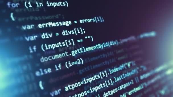 Kreativní abstraktní Php web design, internetové programování jazyka Html a digitální počítačová technologie obchodního konceptu: 3d vykreslení video z makro zobrazení zdrojového kódu softwaru na obrazovce monitoru s selektivní rozostření