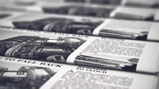 3D render video of the macro view of printing black and white daily business newspapers or news papers on the offset print machine in typography with selective focus bokeh blur effect