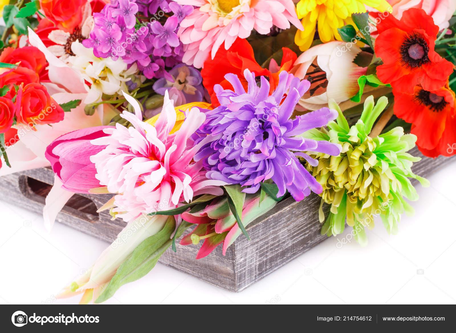 Barevné Textilie Květiny Dřevěné Krabičce — Stock Fotografie ... 5d2f469e0df