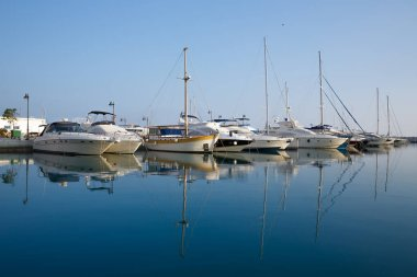 The modern area Marina with the yachts in Limassol, Cyprus.