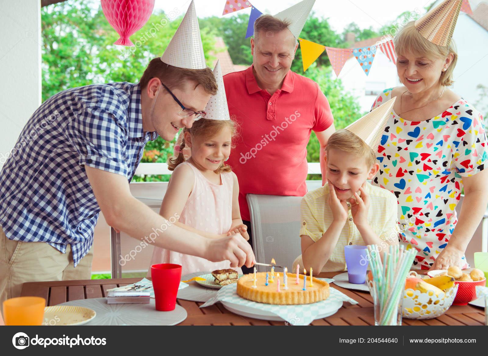 Colorful Portrait Happy Big Family Celebrate Birthday Grandparents ...