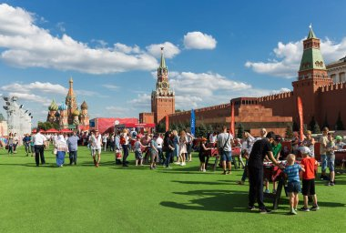 MOSCOW, RUSSIA - June 25, 2018: Football fan Zone on Red Square during the World Cup