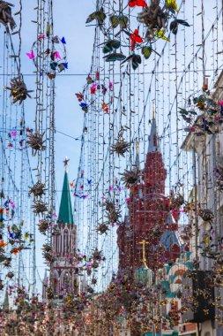 MOSCOW, RUSSIA - June 15, 2018: FIFA WORLD CUP Decoration on Nikolskaya street