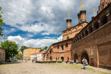 MOSCOW, RUSSIA - June 3, 2018: Antique Krutitsy Patriarchal cloister courtyard, established in late 13th century
