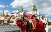 MOSCOW, RUSSIA - June 26, 2018: Artillery cannon painted with Russian patterns in Izmaylovsky Kremlin.