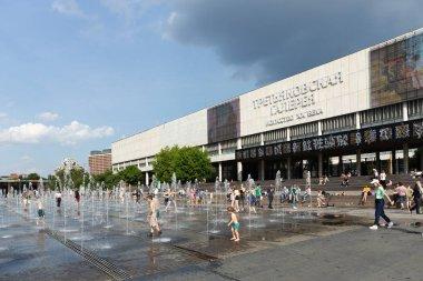 MOSCOW, RUSSIA - June 19, 2018: Fountain near Tretyakovskaya gallery in Muzeon Park of Arts