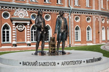 MOSCOW, RUSSIA - JUNE 16, 2018: Monument to Vasily Bazhenov and Matvey Kazakov in Great Tsaritsyn Palace in museum-reserve Tsaritsyno