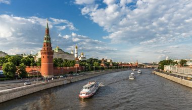 MOSCOW, RUSSIA - JUNE 3, 2018: View of the river Moscow with ships, Kremlevskaya Embankment and towers of the Kremlin