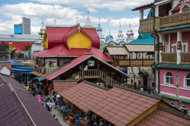 MOSCOW, RUSSIA - June 26, 2018: Courtyard in Izmaylovsky Kremlin. Traditional Russian architecture