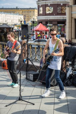 MOSCOW, RUSSIA - June 17, 2018: Musicians on the street in Moscow