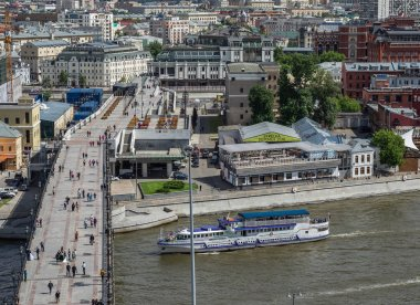 MOSCOW, RUSSIA - June 9, 2018: Panoramic top view of Moscow river.