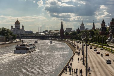 MOSCOW, RUSSIA - JUNE 3, 2018: View of the river Moscow , Kremlevskaya Embankment and towers of the Kremlin