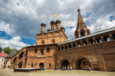 MOSCOW, RUSSIA - June 2, 2018:  Antique Krutitsy Patriarchal cloister courtyard, established in the late 13th century