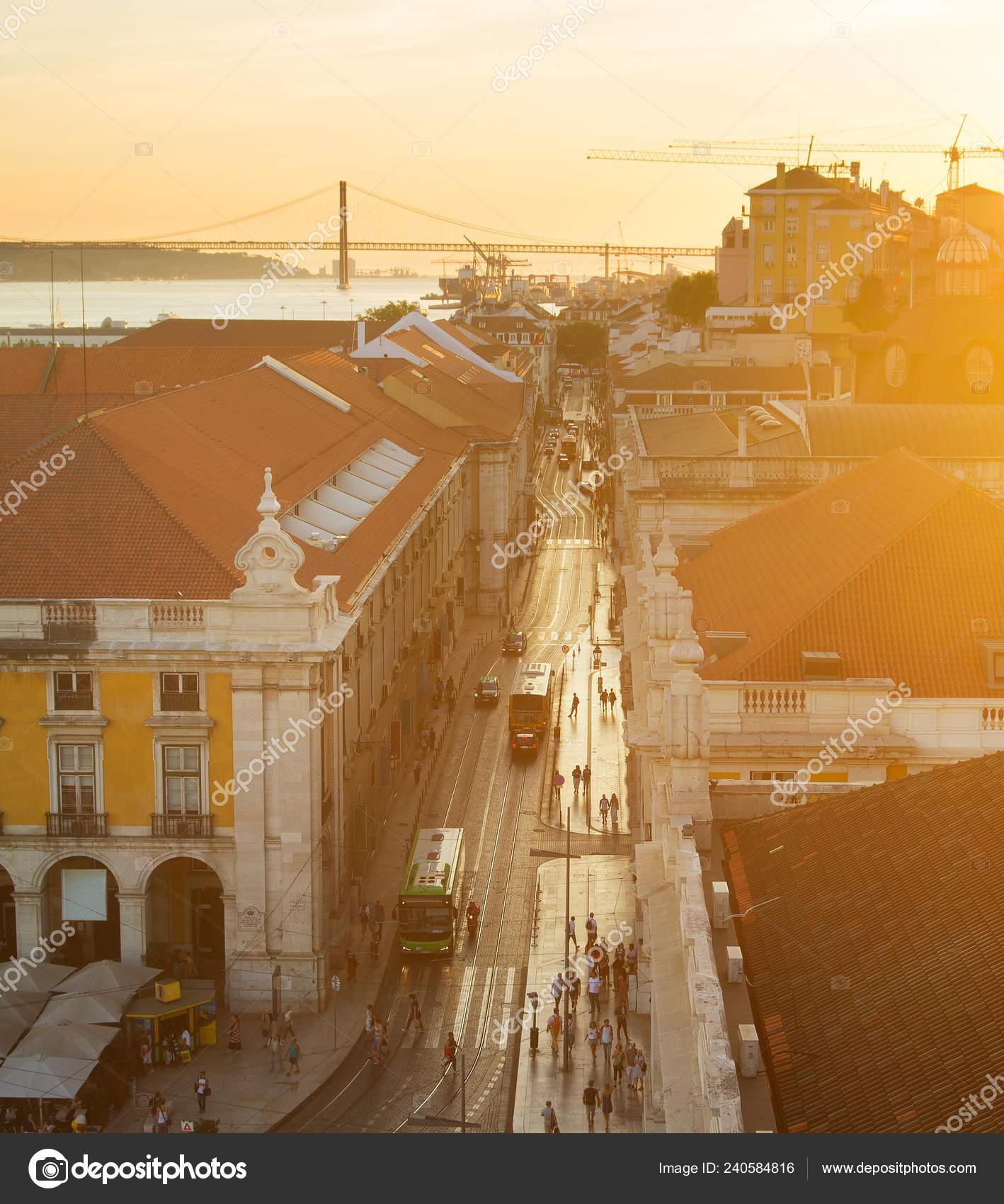 Vista Aérea Lisboa Velha Cidade Rua Pôr Sol Portugal — Fotografia de Stock