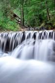 Panoramatické krásné hluboké lesní vodopád