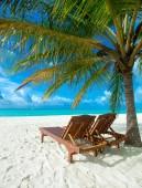 tropický ostrov Maledivy s bílou písečnou pláží a mořem