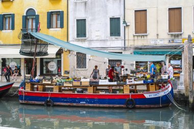 Venice, Italy - June, 28: swimming shop on a channel in Venice, Italy