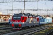 Kasan, Russland - 20. August 2018: Lokomotiven im Bahnhof in Kazan, Russland