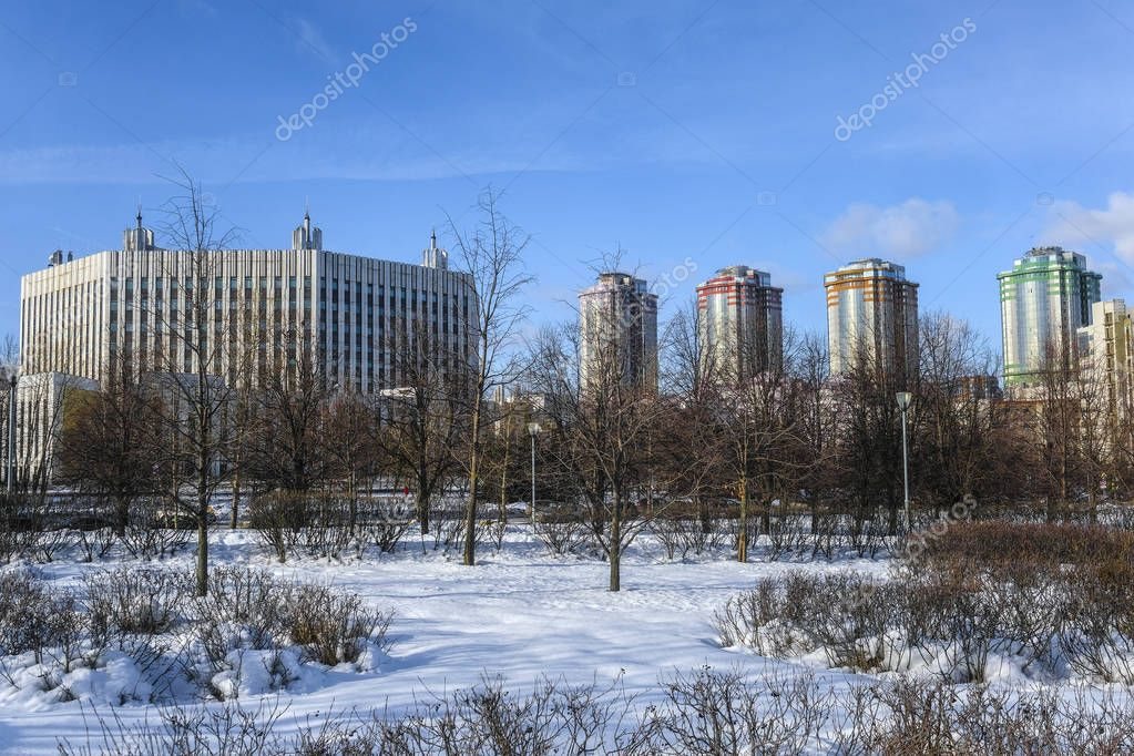 Moscow, Russia - February 17, 2019: Park in front of the General Staff Academy in Moscow in winter