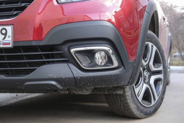 Moscow, Russia - April, 15, 2019: the image of the red car Renault Logan Stepway