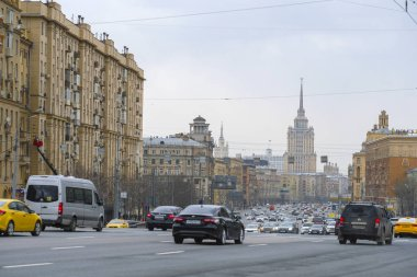 Moscow, Russia - April, 21, 2019: traffic in Moscow