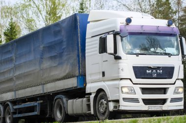 Moscow Region, Russia -May 1, 2019: Truck on a Highway in Moscow Region, Russia