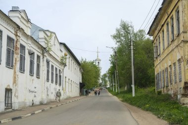 Torzhok, Russia - May, 15, 2019: image of houses on the street in Torzhok, Russia