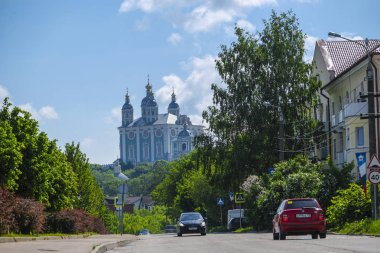 Smolensk, Russia - May, 26, 2019: image of the road leading to the Assumption Cathedral in Smolensk, Russia