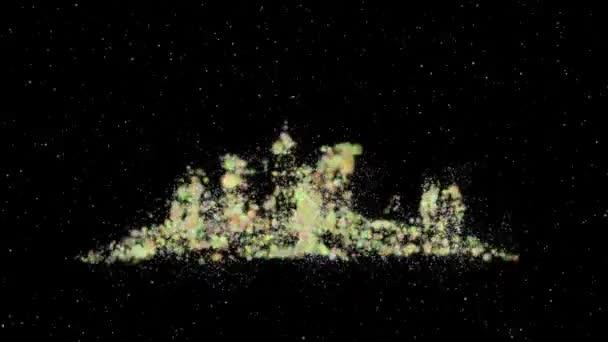 Absztrakt részecske háttér. Ünnepi újévi kilátás a városra a fényben