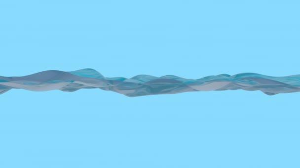 Schöne Wasseroberfläche. Abstrakter Hintergrund mit animiertem Winken der Wasserlinie. Animation einer nahtlosen Schleife.